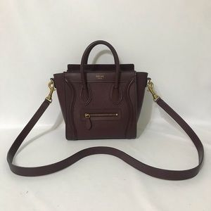 Authentic Celine Nano Luggage Burgundy